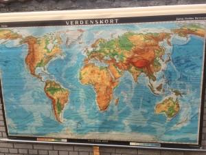 Gammelt skolekort Verden